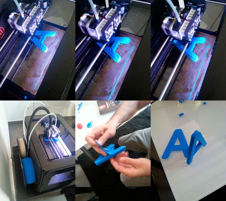Proceso de impresión de letra corpórea con impresora Makerbot Replicator 2